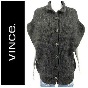 Vince Wool Cashmere Button Sleeveless Cardigan SzS